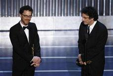 "<p>Ethan (L) and Joel Coen accept the Oscar for best screenplay for ""No Country for Old Men"" during the 80th annual Academy Awards, the Oscars, in Hollywood February 24, 2008. REUTERS/Gary Hershorn</p>"