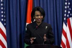 <p>A secretária de Estado Condoleezza Rice particirou de coletiva a em Ramallah com Mahmoud Abbas. Photo by Eliana Aponte</p>
