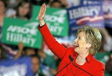 <p>Democratic presidential candidate Senator Hillary Clinton waves to supporters at her Ohio primary election night rally in Columbus, Ohio March 4, 2008. REUTERS/Matt Sullivan</p>