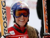 <p>La swciatrice americana Lindsey Vonn sorride dopo la vittoria di oggi. REUTERS/Arnd Wiegmann (Switzerland)</p>