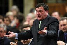 <p>Canada's Finance Minister Jim Flaherty speaks during Question Period in the House of Commons on Parliament Hill in Ottawa March 10, 2008. REUTERS/Chris Wattie</p>