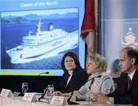 <p>Transportation Safety board of Canada Chair Wendy Tadros (C), Senior Marine Investigator Captain Pierre Murray and Director of Marine Investigations Captain Yvette Myers (L) take questions during a news conference in Vancouver British Columbia, March 12, 2008. The Safety Board on Wednesday released its findings into the March 22, 2006 sinking of the BC Ferry Queen of the North. REUTERS/Lyle Stafford</p>