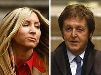 <p>Heather Mills and Paul McCartney are seen in a combination photo as each arrives at the High Court in London on March 17, 2008. REUTERS/Kieran Doherty</p>
