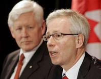 <p>Liberal leader Stephane Dion (C) speaks at a news conference with newly elected House of Commons member Bob Rae (L) in Toronto, March 18, 2008. The Liberals captured three of four federal seats in Monday's by-elections. REUTERS/Mike Cassese</p>