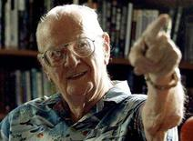<p>Science fiction writer Arthur C. Clarke gestures at his study in his home in the Sri Lankan capital Colombo in this January 1, 2002 file photo. REUTERS/Anuruddha Lokuhapuarachchi</p>
