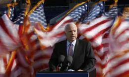 <p>O candidato republicano à presidência dos EUA, John McCai, discursa na Academia Naval norte-americana de Annapolis. Photo by Jason Reed</p>