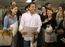"<p>Actor Steve Carell (C) laughs along with other members of ""The Office"" cast including Jenna Fischer (L), Phyllis Smith, (2rd R, in glasses) and Kate Flannery (2nd R) as he receives certificates for his three Screen Actors Guild Awards nominations for outstanding performance by a male actor in a comedy series in ""The Office,"" outstanding performance by an ensemble in a comedy series in ""The Office,"" and outstanding performance by the cast of a motion picture in ""Little Miss Sunshine,"" on the set of the television show ""The Office,"" in Panorama City, California, January 11, 2007. REUTERS/Danny Moloshok</p>"