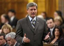<p>Prime Minister Stephen Harper speaks during Question Period in the House of Commons on Parliament Hill in Ottawa April 7, 2008. REUTERS/Chris Wattie</p>