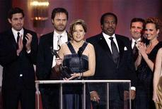"<p>The cast of ""The Office"" accepts the award for Outstanding Performance by an Ensemble in a Comedy Series at the 14th annual Screen Actors Guild Awards in Los Angeles January 27, 2008. BC returned to an all-original lineup Thursday night, highlighted by the much-anticipated resumption of ""The Office."" REUTERS/Danny Moloshok</p>"