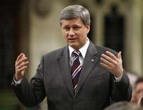 <p>Prime Minister Stephen Harper speaks during Question Period in the House of Commons in Ottawa April 9, 2008. REUTERS/Chris Wattie</p>