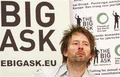 "<p>Thom Yorke, singer of rock band Radiohead, holds a news conference to launch the Europe-wide climate campaign ""Big Ask"" by environmentalist group Friends of the Earth in Brussels February 27, 2008. REUTERS/Yves Herman</p>"