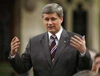 <p>Prime Minister Stephen Harper speaks during Question Period in the House of Commons on Parliament Hill in Ottawa April 9, 2008. REUTERS/Chris Wattie</p>