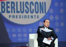 <p>Italy's centre-right leader Silvio Berlusconi appears on the 'Matrix' television programme at Channel 5 studios in Rome, April 11, 2008. REUTERS/Alessandro Di Meo/Pool</p>