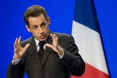 <p>France's President Nicolas Sarkozy delivers a speech at after visiting an hospital in Neufchateau, Eastern France April 17, 2008. REUTERS/Philippe Wojazer</p>