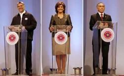 <p>Os três principais candidatos à Presidência do Paraguai, em foto combinada, participam de debate em 3 de abril. Da esquerda para a direita: Fernando Lugo, Blanca Ovelar e Lino Oviedo. Photo by Jorge Adorno</p>