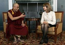 <p>The Dalai Lama (L) meets with Paula Dobriansky, the U.S. under secretary of the State Department for Global Affairs and Special Coordinator for Tibetan Issues, at the University of Michigan in Ann Arbor, Michigan April 21, 2008. REUTERS/Rebecca Cook</p>