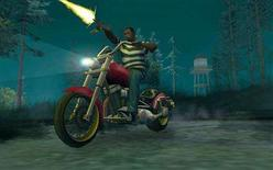 "<p>In this screenshot provided by Rockstar Games, a scene from the best-selling video game ""Grand Theft Auto - San Andreas"" is shown. Beatings, carjackings, drive-by shootings, drunk driving and hookers. For video game fans, it can only mean one thing: ""Grand Theft Auto 4"" is here, with all the subtlety of a shotgun blast. The latest chapter in the wildly popular and controversial criminal action franchise from Take-Two Interactive Software Inc is poised to be the biggest entertainment product of the year, with expected first-week sales of up to $400 million. REUTERS/Rockstar Games/Handout/Files</p>"