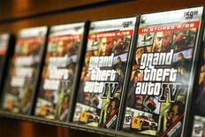 "<p>""Grand Theft Auto IV"" video game boxes are displayed on a rack inside a GameStop store in New York prior to the midnight release of the video game April 28, 2008. REUTERS/Lucas Jackson</p>"