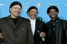 <p>Three of the Neville Brothers music group Art, Charles and Cyril Neville (L-R) pose as they arrive at the taping of the 37th annual NAACP Image Awards in Los Angeles, California February 25, 2006. REUTERS/Fred Prouser</p>