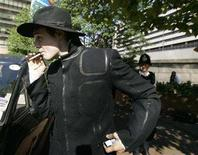 <p>British singer Pete Doherty at West London Magistrates Court, London August 7,2007. REUTERS/Luke MacGregor</p>