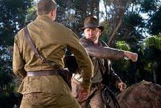 """<p>Actor Harrison Ford (R) is back as character Indiana Jones and is shown in a scene from the new film """"Indiana Jones and the Kingdom of the Crystal Skull"""" in this undated publicity photograph. Even decades past their prime, Hollywood's leading men just don't want to give up their image as strapping young action heroes, as Ford proves in his return as Indiana Jones. REUTERS/David James/Paramount Pictures/Handout</p>"""