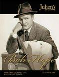 <p>The cover of the auction catalogue featuring a picture of the late entertainer Bob Hope is shown in this undated handout picture released to Reuters May 19, 2008. Items that belonged to Hope will be auctioned for the first time in October 2008, Julien's Auctions announced in Los Angeles May 19, 2008. REUTERS/Julien's Auctions/Handout</p>