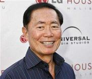 "<p>Actor George Takei, one of the stars of the drama series ""Heroes"" poses at the Universal Media Studios Emmy party celebrating the studio's Emmy nominees in Malibu, California August 2, 2007. REUTERS/Fred Prouser</p>"