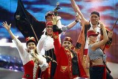 "<p>""Pirates Of The Sea"" of Latvia perform during rehearsals for the Eurovision Song Contest semi-final in Belgrade May 21, 2008. REUTERS/Marko Djurica</p>"