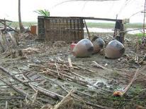 <p>Un'abitazione danneggiata nel delta dell'Irrawaddy in Myanmar. REUTERS/Stringer (MYANMAR)</p>