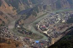 <p>Vista aérea do lago formado pelo terremoto no condado de Beichuan. Foto tirada em 27 de maio de 2008. Photo by China Daily</p>