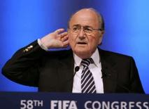 <p>Presidente da Fifa, Joseph Blatter, durante Congresso da entidade em Sydney, nesta sexta-feira. Photo by Will Burgess</p>