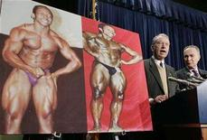 <p>Sen. Charles Grassley (R-IA) (L) talks about the illegal use of steroids and athletes on Capitol Hill in Washington December 18, 2007. A new documentary that takes a wide-ranging look at steroid abuse suggests an American culture of winning at all costs is at odds with its public condemnation of the performance-enhancing drugs. REUTERS/Larry Downing</p>