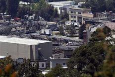 <p>A general view of fire-destroyed buildings at Universal Studios in Los Angeles June 2, 2008. REUTERS/Mario Anzuoni</p>