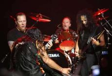 <p>Integrantes da banda de heavy metal Metallica fazem show em Los Com 'Guitar Hero: Aerosmith' a semanas do lançamento, o anúncio de uma versão do Metallica para o jogo parece iminente. Photo by Mario Anzuoni</p>
