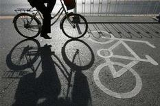 <p>A cyclist rides along a bicycle lane in Beijing November 19, 2007. Canadians will be offered bicycles, public transit passes or cash if they agree to scrap their old gas-guzzling vehicles, the government said on Wednesday. REUTERS/Claro Cortes IV</p>