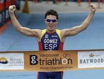 <p>Javier Gomez of Spain reacts after winning the Elite men's Triathlon World Championships in Vancouver, British Columbia June 8, 2008. REUTERS/Lyle Stafford</p>