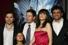 "<p>Actors John Leguizamo (L), Zooey Deschanel (2nd R), Mark Wahlberg (3rd L), and Ashlyn Sanchez (2nd L) arrive with director M. Night Shyamalan for the premiere of the film ""The Happening"" in New York June 10, 2008. REUTERS/Lucas Jackson</p>"