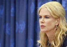 <p>Nicole Kidman speaks during a news conference at the United Nations Headquarters in New York April 22, 2008. REUTERS/Brendan McDermid</p>