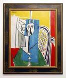 <p>O quadro de 1954 pintado por Pablo Picasso, 'Sylvette', é exibido em Sydney, dia 18 de junho. Um retrato abstrato de Paulo Picasso foi vendido por um preço recorde na Austrália, arrecadando 6,9 milhões de dólares australianos (o equivalente a 6,1 milhões de dólares norte-americanos) em um leilão em Sydney. Photo by Tim Wimborne</p>