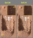 <p>Due foto scattate dal Surface Stereo Imager di Phoenix Mars Lander il 15 e il 18 giugno 2008, che mostrano lo scioglimento del giacchio sulla superficie di Marte. REUTERS/ NASA/JPL-Caltech/University of Arizona/Texas A&M University/Handout (Usa)</p>