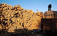 <p>Штабель бревен в Лесосибирске, 4 апреля 2005 года. Финляндия может принять ответные меры против Москвы в связи с повышением экспортных пошлин на лес в России, которое угрожает как вступлению РФ во Всемирную торговую организацию (ВТО), так и новому соглашению о партнерстве с ЕС. (REUTERS/Ilya Naymushin)</p>