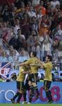 <p>Jogadores da seleção espanhola comemoram gol de Xavi contra a Rússia na semfinal da Euro 2008, por 3 x 0, nesta quinta-feira, em Viena. Photo by Felix Ordonez</p>