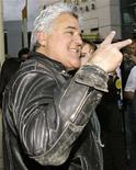 "<p>""Tonight Show"" host Jay Leno arrives for the premiere of ""National Lampoon Presents One, Two, Many"" in Los Angeles, April 10, 2008. REUTERS/Danny Moloshok</p>"