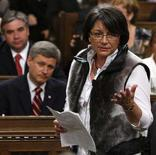 <p>National Inuit leader Mary Simon wears a sealskin vest while speaking as Canada's Prime Minister Stephen Harper (bottom L) listens in the House of Commons on Parliament Hill in Ottawa in this June 11, 2008 file photo. REUTERS/Chris Wattie/Files</p>