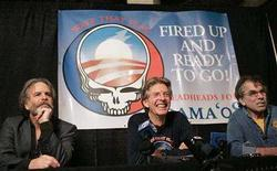 "<p>Guitarists Bob Weir (L) and Phil Lesh (C) and percussionist Mickey Hart, the remaining living members of the band ""The Grateful Dead"", announce a benefit concert for US Democratic Presidential candidate Barack Obama at the Warfield Theatre in San Francisco, California February 4, 2008. REUTERS/Robert Galbraith</p>"