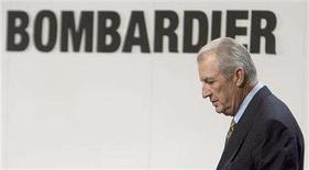 <p>Laurent Beaudoin, chairman of Bombardier Inc., announces financial results in Montreal on March 31, 2005. REUTERS/Christinne Muschi</p>