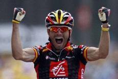 <p>Il ciclista spagnolo Alejandro Valverde, vincitore della prima tappa del Tour de France 2008. REUTERS/Regis Duvignau (FRANCE)</p>