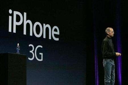 In this file photo Apple Corporation CEO Steve Jobs speaks about the new iPhone 3G during his keynote speech at the Apple Worldwide Developers Conference in San Francisco, California June 9, 2008. Following criticism that its prices were too high for service plans for the eagerly anticipated Apple iPhone 3G, Canada's Rogers Communications Inc has rolled out a promotional six-gigabyte data plan for C$30. REUTERS/Kimberly White