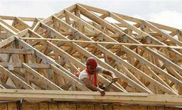 <p>A construction worker swings his hammer at a new home development in Ottawa July 9, 2008. REUTERS/Chris Wattie</p>