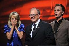 <p>Actress Kristin Chenoweth (L) reacts as Academy Chairman and CEO John Shaffner (C) reveals that she is a nominee for Outstanding Supporting Actress in a Comedy Series, as actor Neil Patrick Harris looks on during the announcement of nominations for the 60th Prime Time Emmy Awards at the Academy of Television Arts and Sciences in Los Angeles July 17, 2008. REUTERS/Phil McCarten</p>
